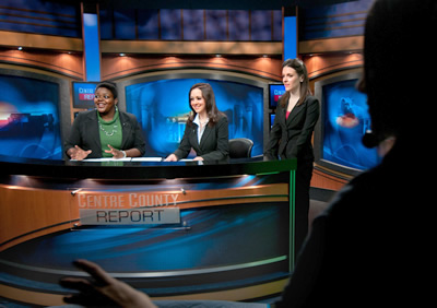 Students on the set of Centre County Report.