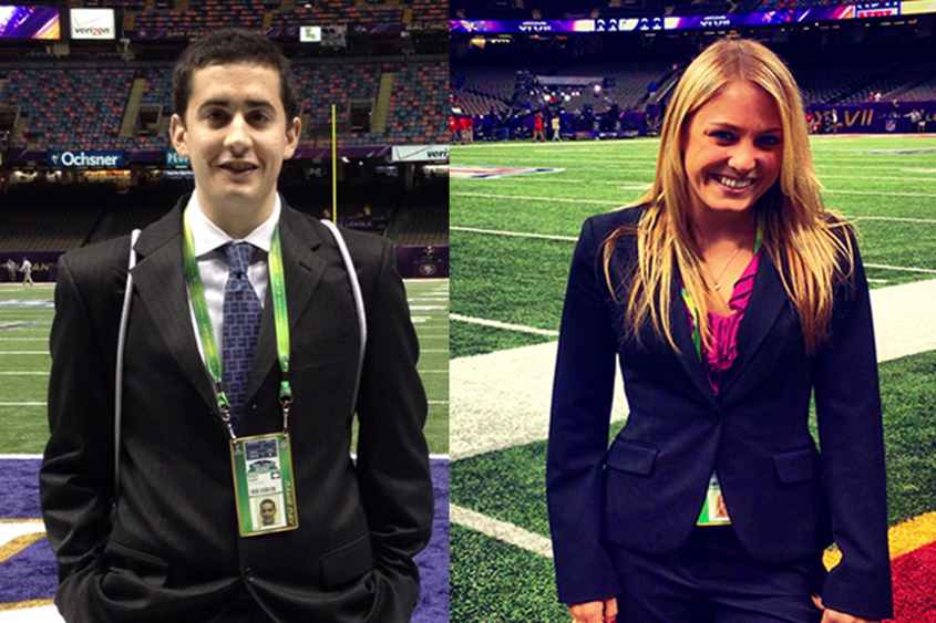 students Rob Roselli and Melissa Schiller at the Super Bowl.