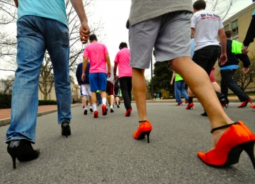 The Walk a Mile in Her shoes event started outside the Alpha Kappa Lambda house on October 18, 2015. File photo/The Daily Collegian