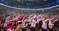 THON participants learn the 2016 line dance at the Bryce Jordan Center on Friday, Feb. 19.