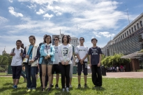 Middle school students from Beijing, China, pose for a group photo in front of Independence Hall in Philadelphia on July 24, 2016, before the start of the Democratic National Convention. The students came to see the historical site in Philadelphia and have traveled to New York City and Washington, D.C., as well.