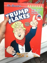 "Protesters at the Republican National Convention are using very creative ways to make a statement. One example is ""Make America G-r-reat Again!"" Trump Flakes, re-packaged cereal for sale on a Cleveland street corner."