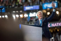 Former President Bill Clinton speaks at the Democratic National Convention Tuesday night. He recounted the story of Hillary's life from the time they met until now, making the case for why he thinks she should be president.