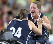 Christina Schwab (24) and Gail Gaeng celebrate after the U.S. team defeated Germany to win gold during the wheelchair basketball finals at the 2016 Paralympic Games in Rio de Janeiro, Brazil, on Friday, Sept. 16, 2016.