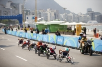 Competitors in the men's marathon wheel along Copacabana Beach on the final day of the 2016 Paralympic Games in Rio de Janeiro, Brazil, on Sunday, Sept. 18, 2016.