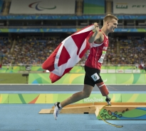 Daniel Wagner, from Denmark, celebrates after winning the silver medal in the men's 100m T-42 final at the 2016 Paralympic Games in Rio de Janeiro, Brazil, on Thursday, Sept. 15, 2016.
