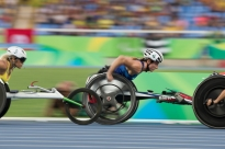 Tatyana McFadden of the U.S. races to victory in the women's 5000m T54 race at the 2016 Paralympic Games in Rio de Janeiro, Brazil, on Thursday, Sept. 15, 2016. She claimed her third gold medal and fourth overall of the games.