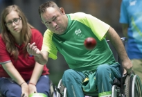 Marcelo dos Santos of Brazil throws a boccia ball under the watchful gaze of Michaela Balcova of Slovakia during the mixed pairs BC4 gold medal match at the 2016 Paralympic Games in Rio de Janeiro, Brazil, on Monday, Sept. 12, 2016. Slovakia defeated Brazil 4-2. (Cameron Hart/Penn State University via AP)