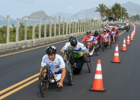 Alessandro Zanardi ITA (left) competes in the Men's Cycling Road Race H5 at Pontal. The Paralympic Games, Rio de Janeiro, Brazil, Thursday 15th September 2016.
