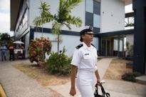 Avila walks outside of the International Maritime University of Panama.