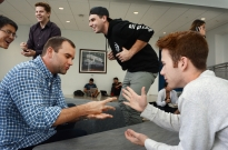 Several Rock, Paper Scissors games engage students at the HUB.