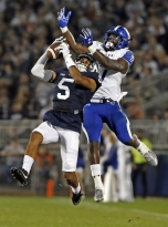 Penn State's Tariq Castro-Fields (5) intercepts a pass intended for Georgia State's Glenn Smith (17) during the second half of an NCAA college football game in State College, Pa., Saturday, Sept. 16, 2017. (AP Photo/Chris Knight)