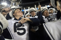 Jess Hopkins dances among the other members of the Blue Band during the Penn State v. Georgia State game in September.