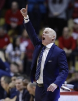 Penn State coach Patrick Chambers shouts instructions during the second half of the team's NCAA college basketball game against Indiana, Tuesday, Jan. 9, 2018, in Bloomington, Ind. Indiana won 74-70. (AP Photo/Darron Cummings)