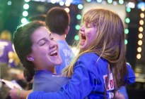Leah Fait, 7, from Chambersburg, Pa. plays with dancer Marissa Glovier, a Penn State senior, during the final hours of THON Sunday, Feb. 17, 2019.