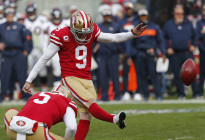 San Francisco 49ers kicker Robbie Gould kicks a field goal as Bradley Pinion (5) looks on during the first half of an NFL football game against the Denver Broncos Sunday, Dec. 9, 2018, in Santa Clara, Calif.