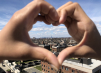 On the day that the death toll from COVID-19 exceeded 1,000 in New York City, Olecia Daniels and her brother, Javon Daniels, join hands to create a heart over their neighborhood in Queens on April 1, 2020. Being raised in New York City, their hearts are going out to all the people affected my COVID-19.