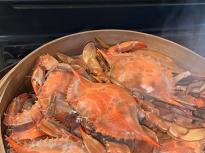 Steamed fresh blue crab.