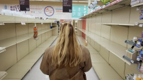 As panic buying left store shelves void of toilet paper and other paper products, Desiree Irvin shops for her elderly mother in Red Lion, Pa, on April 24, 2020. Desiree's mother was quarantined in her home during the COVID-19 pandemic.