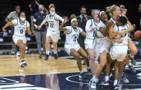 The Penn State Lady Lions celebrate a last second victory over the Rhode Island Rams 70-69 at the Bryce Jordan Center at Penn State Thursday, Dec. 3, 2020.