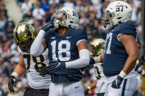 Oct 5, 2019; University Park, PA, USA; Penn State Nittany Lions defensive end Shaka Toney (18) reacts during the first half against the Purdue Boilermakers at Beaver Stadium. Mandatory Credit: John Jones-USA TODAY Sports