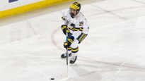 The University of Michigan ice hockey team loses to Notre Dame, 3-2, at Yost Arena on Nov. 27, 2020 in Ann Arbor.