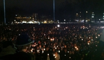 Thousands of students gathered this evening in memory of Joe Paterno for a  half hour vigil that featured several athletes, including quarterbacks Matt McGloin and Shane McGregor, sharing their memories of the legendary coach. Students finished the vigil with a walk to the Paterno statue next to Beaver Stadium.