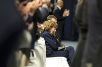 Sue Paterno is overwhelmed with emotion as she receives a standing ovation after arriving at the Bryce Jordan Center for a memorial for her husband, legendary Penn State football coach Joe Paterno. She was seated with their son, David Paterno. This photo was first posted to OnwardState.com, where it received more than 1,500 likes and 139 comments from Facebook fans in a matter of hours.