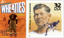 Jim Thorpe's image has been immortalized on cereal boxes and stamps.