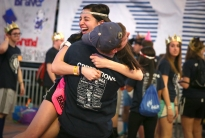 Connor Bortz, an OPP committee member from Whitehall, Pa., hugs Lauren Cataldo, another OPP committe member from Morristown, NJ early Saturday.
