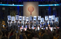 The Nittany Lion mascot joined THON organizers on stage as the final total was revealed at THON 2014.