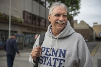 Randy Albright, a Penn State alumnus from Harrisburg, and his wife are visiting Dublin to attend the Penn State University of Central Florida game.  Photo by Hannah Byrne