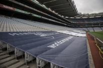 Penn State World Campus banners are draped over rows of seats at Croke Park on Tuesday, Aug. 26, 2014.