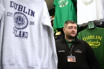 Chris Burns, an employee of Carroll's Irish Gifts and a Dublin native, doesn't expect to sell much Croke Park Classic merchandise to locals, but thinks the weekend of the game will bring American football fans to the shop. There was no rush of customers at the gift shop on Tuesday Aug. 26, 2014.