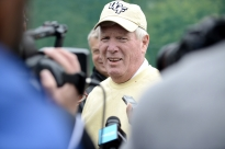 Central Florida coach George O'Leary speaks with media outside UCF's team practice at Carton House's training facility in Maynooth, Ireland on Aug. 27. 2014.