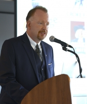 Penn State UNESCO Chair Mark Brennan gives the opening speech of the UNESCO Symposium on Youth Civic Engagement and Leadership through Sport and Recreation at Croke Park Stadium in Dublin Thursday, Aug. 28, 2014.