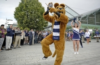 The Penn State Nittany Lion mascot hypes up a crowd outside The CHQ shopping center in Dublin on Aug. 28, 2014.