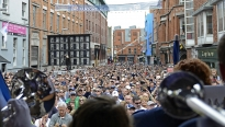 The Blue Band plays Penn State fight songs during the Penn State pep rally in Dublin's Temple Bar district, Aug. 29, 2014.