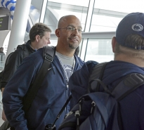 Penn State coach James Franklin makes his way through Dublin Airport on Wednesday morning after arriving for the Croke Park Classic.
