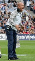 Penn State head coach James Franklin screams to his players after his team scored a touchdown in the  first half of the Croke Park Classic Saturday, Aug. 30, 2014 in Dublin, Ireland. Photo by Hannah Byrne