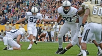 As time expires, Penn State kicker Sam Ficken (97) boots a game-winning, 36-yard field goal to give the Nittany Lions the Croke Park Classic victory over Central Florida. Ficken made all four of his attempts; the 36-yard winner was the game long. He finished the 2013 season 15-of-23 on his field goal attempts. Aug. 30, 2014.