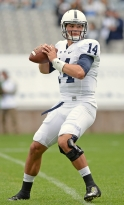 Penn State Nittany Lions quarterback Christian Hackenberg (14) warms up before the Croke Park Classic Saturday, Aug. 30, 2014 in Dublin, Ireland.