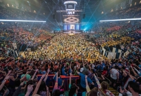 THON participants learn the 2015 line dance at the Bryce Jordan Center on Friday.