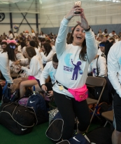 Senior Stephanie Rosenthal, dancing in THON for Alpha Omicron Pi, takes a selfie before the start of THON Weekend 2015 at the Multi Sports Facility adjacent to the Bryce Jordan Center.