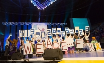 The THON 2015 executive committee reveals the 2015 fundraising cycle total: $13,026,653.23. It marked the second year in the row that THON had raised over $13 million, following the 2014 total of $13.3 million, and the fourth in a row in which it had raised an eight-figure total.
