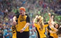 Danny Ford, a Dancer Relations captain from Erie, Pa., leads the line dance during the final four hours of THON.