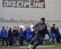 Jay Ajayi performs a receiving drill during Boise State's NFL football Pro Day in Boise, Idaho, on Wednesday, March 18, 2015. (AP Photo/Otto Kitsinger)