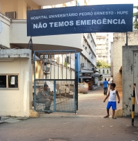 The emergency entrance to Hospital Universitario Pedro Ernesto-Hupe (Pedro Ernesto University Hospital) in Rio de Janeiro.