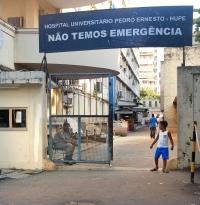 The emergency entrance to Hospital Universitario Pedro Ernesto-Hupe (Pedro Ernesto University Hospital) in Rio de Janeiro.