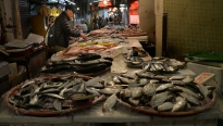 Shoppers inspect seafood options for sale March 13 at the Shek Kip Mei Estate Market.
